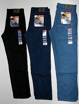 Wrangler Men`s Stretch Jeans Regular Fit. Indigo, Black, Bleach. New. All - Black Regular Fit Jeans