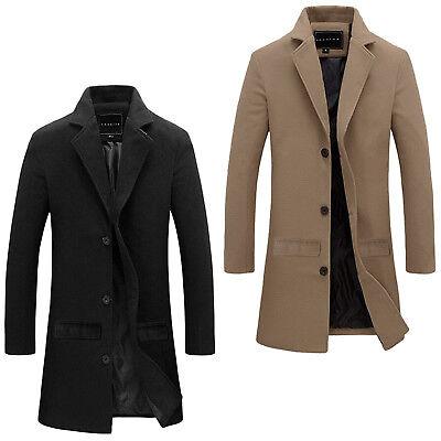 Classic Notched Collar Coat (BRAND NEW MENS TRENCH COAT CLASSIC GENTS NOTCHED COLLAR STYLISH OUTWEAR)
