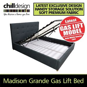 NEW Queen Size Fabric Upholstered Gas Lift Storage Bed Frame