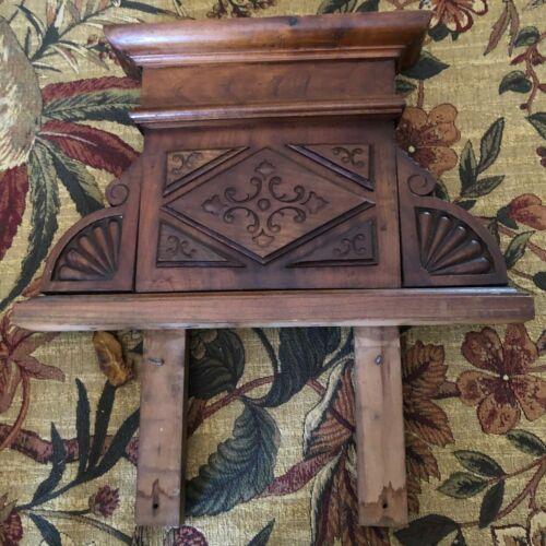 Antique Pediment Architectural Crown Walnut Wood Crest