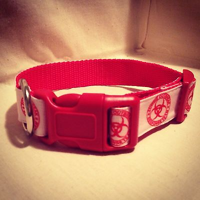 "Zombie Outbreak Response Team On White Ribbon Dog Collar 1""Adjustable Dog collar"