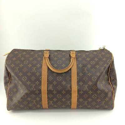 Auth Louis Vuitton Monogram Canvas leather Keepall 50 M41426 Travel bag