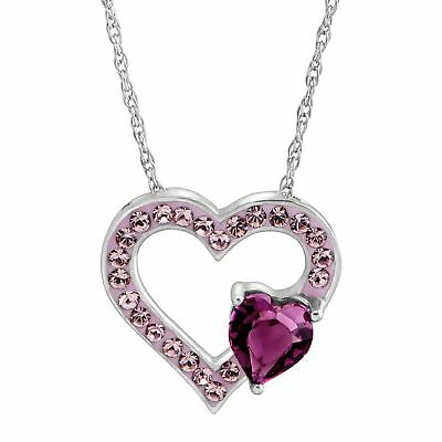 Crystaluxe Open Heart Pendant with Purple Swarovski Crystals in Sterling Silver