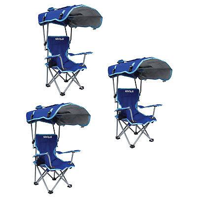 Kelsyus Kids Original Canopy Folding Backpack Lounge Chair, Blue (3 Pack)