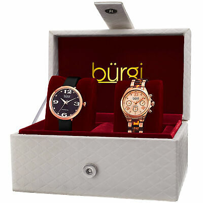 Women's Burgi BUR134RG Rose-tone Diamond/Multifunction Strap/Bracelet Watch Set