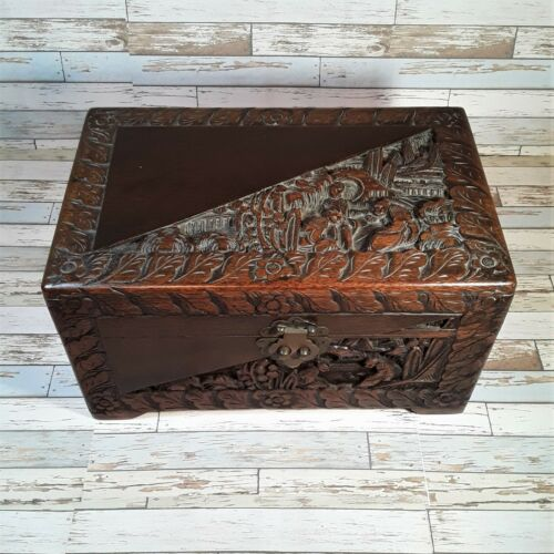 Vintage Chinese Hand Carved Camphor Wood Chest Box Circa 1940s Good Condition