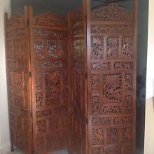 Elephant design hand carved solid wood room divider / screen Seaforth Manly Area Preview