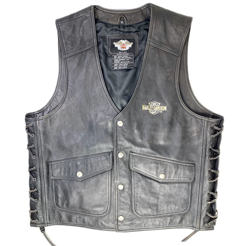 Harley Davidson Mens XL Leather Riding Vest Side Laces Embroidered Eagle Snaps