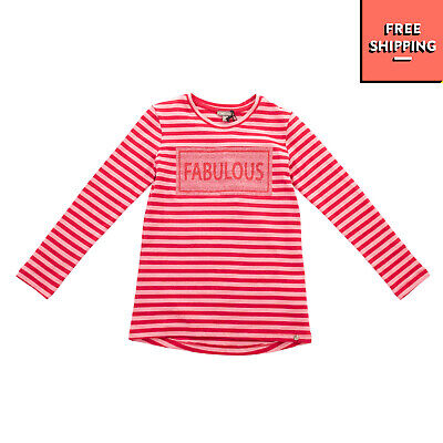 MICROBE By MISS GRANT T-Shirt Top Size 7Y / 116-122CM Striped Glitter Inscripted