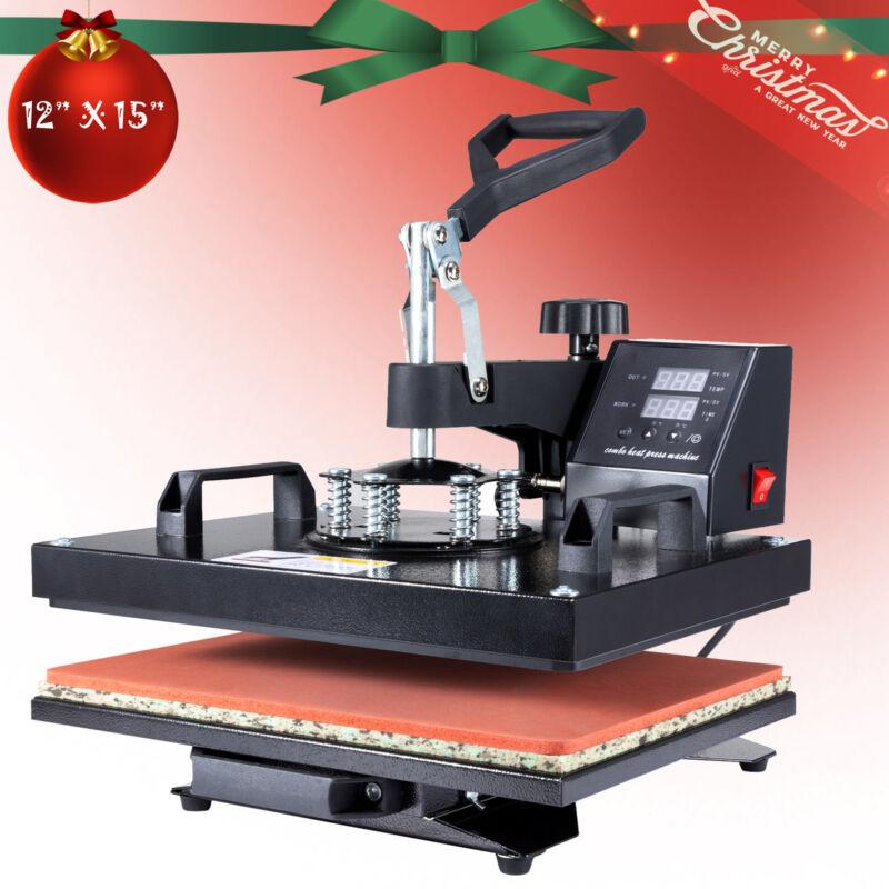 "Heat Press Machine 360° Swing Away Digital Sublimation T-Shirt Pad 12X15"""