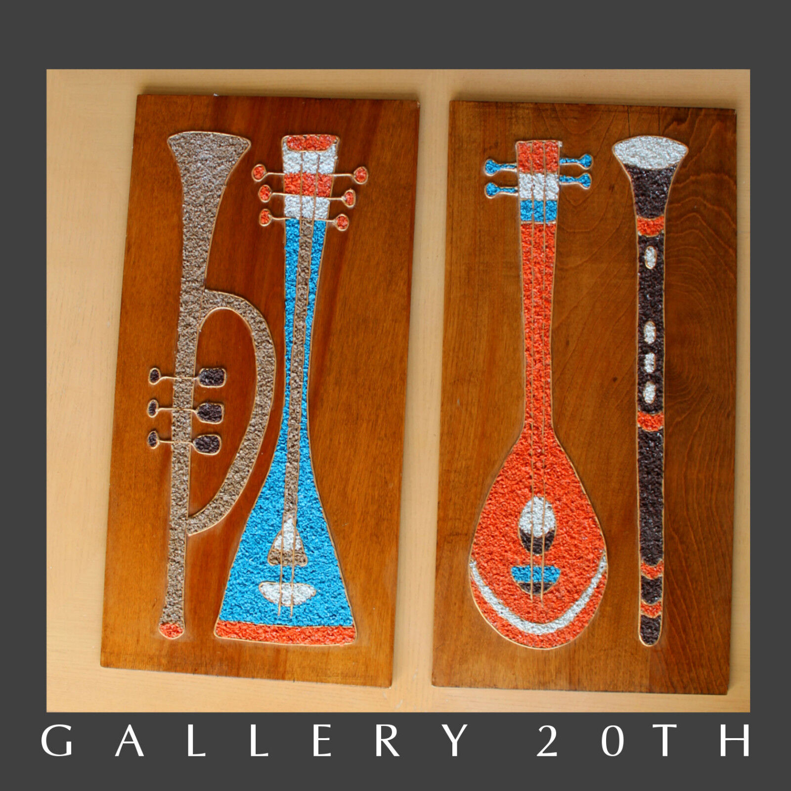 MID CENTURY MODERN ATOMIC MUSIC INSTRUMENT WALL ART VTG GRAVEL 50S MOSAIC PEBBLE - $900.00