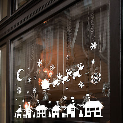 Christmas Xmas Display Shop Window Wall Decorations Decals Window Stickers A283 ()