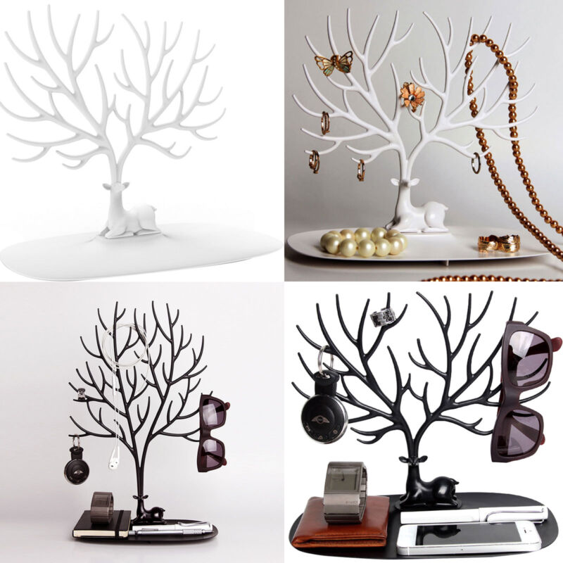 Jewellery - Jewelry Tree Stand Display Organizer Ring Earring Necklace Holder Show Rack UK