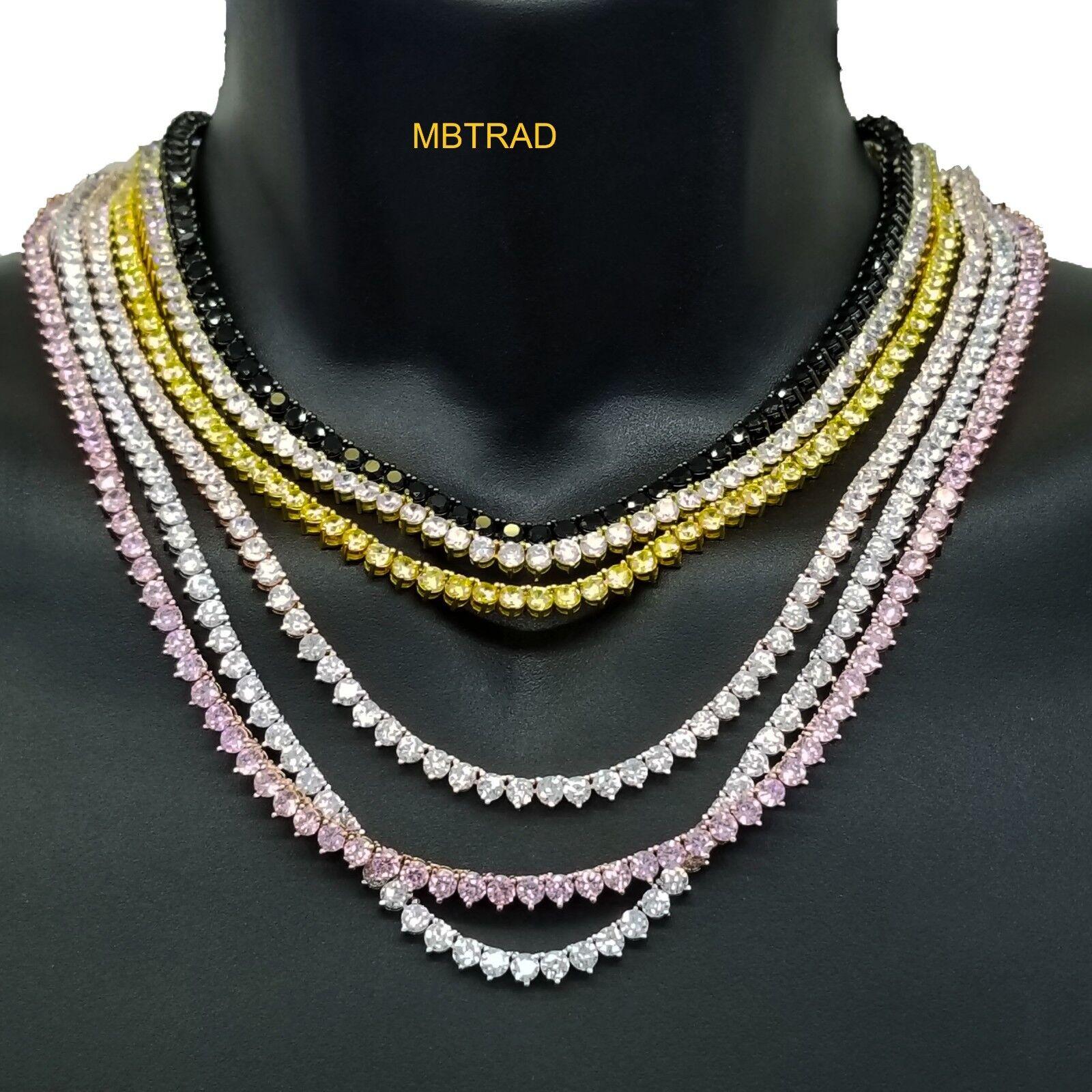 Men's Women's Mini Micro  Lab Simulated Diamond Tennis Chain Necklace