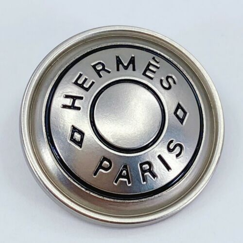 One Authentic HERMES Button ft. Classic Designer Art & Silver Metal, 25mm Button