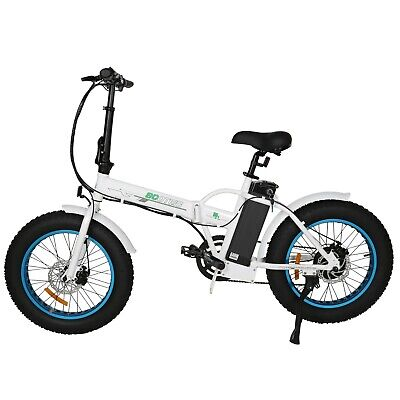 "Folding Electric Fat Tire Bike Beach Bicycle City Ebike 20"" 36V 500W White NEW"