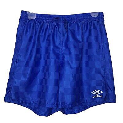 Umbro Men's Size Large Nylon Satin Soccer Shorts Blue Running Checkerboard
