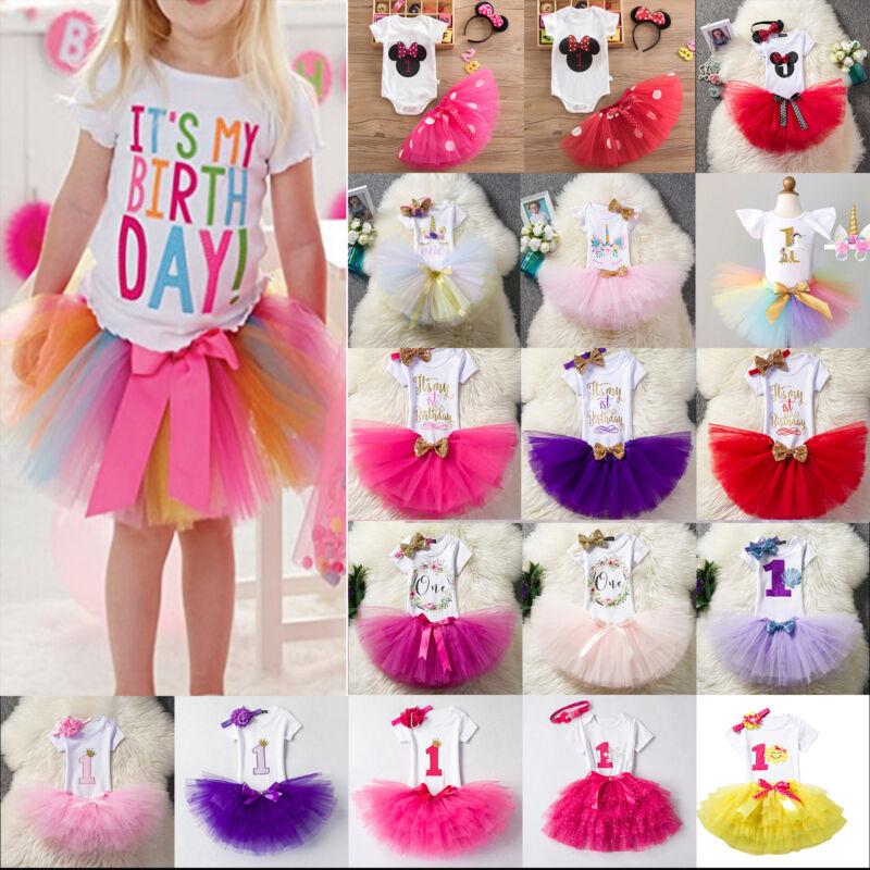 1 Jahr Geburtstag Kleid Baby Mädchen Kinder Top + Tutu Rock Festkleid Outfit Set