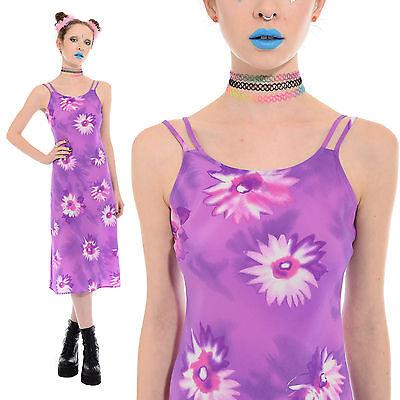 Vtg 90s Pastel FLORAL Daisy Midi Dress Grunge Clueless Rave Club-Kid Spice Girls