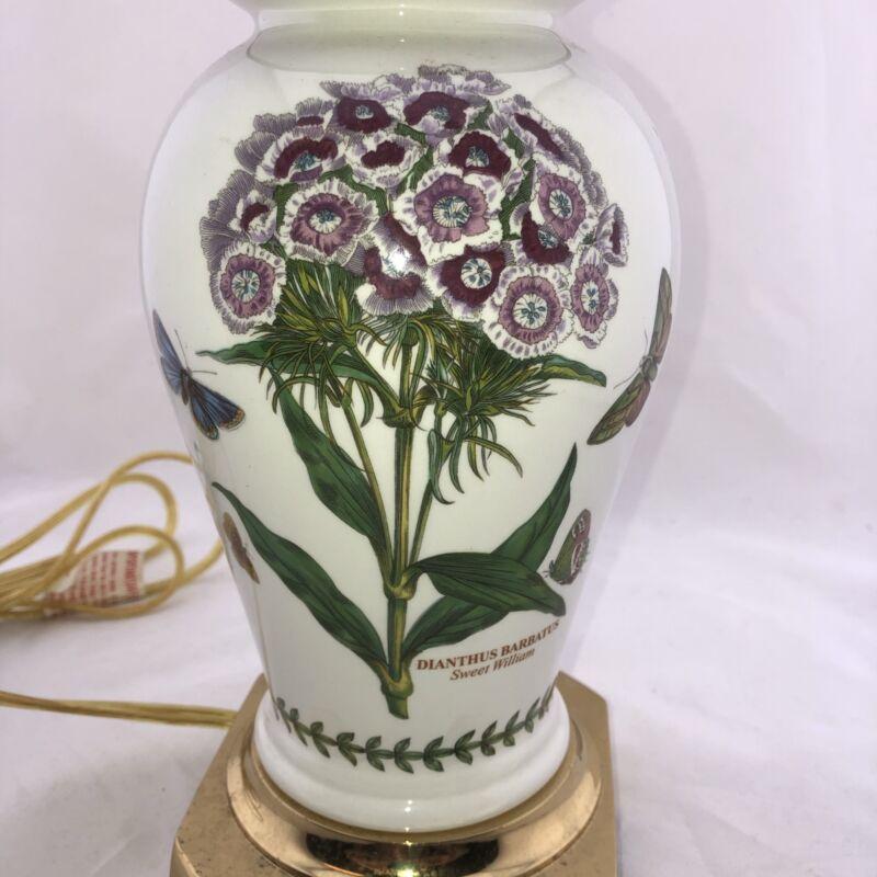 """Vintage Portmeirion Botanic Garden """"Sweet William"""" Flower Porcelain Brass Lamp"""