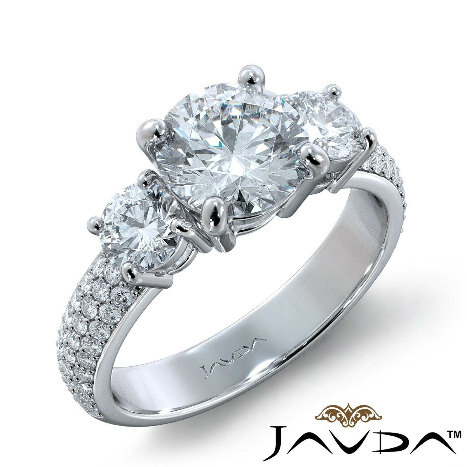 2.7ct 3 Stone Sidestone Pave Round Diamond Engagement Ring GIA F-VVS2 White Gold