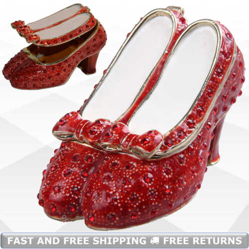 Wizard Of Oz Slippers Trinket Box With Hinged Lid Enamel Bejeweled Crystal Decor