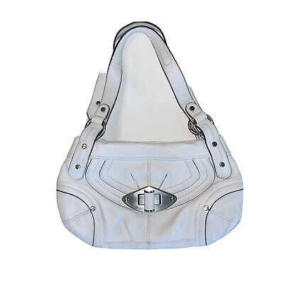 B Makowsky White Leather Handbag