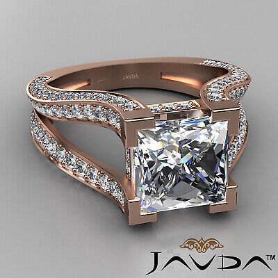 Circa Halo Split Shank Princess Diamond Engagement Pave Set Ring GIA H VS2 2.4Ct 9