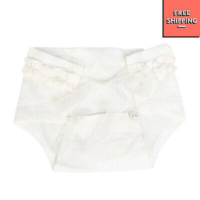 HARMONT & BLAINE JUNIOR Linen Bloomers Size 3-6M White Ruffle Trim
