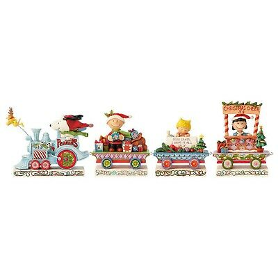 Jim Shore Peanuts Christmas Train Figurine Set of 4 Piece NIB