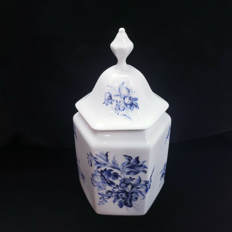 """Vintage Blue & White French Porcelain Ginger Jar Tea Apothecary Canister 10"""""""