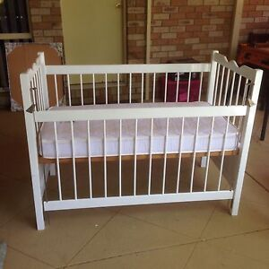 Cot with mattress and linen. Brighton Brisbane North East Preview