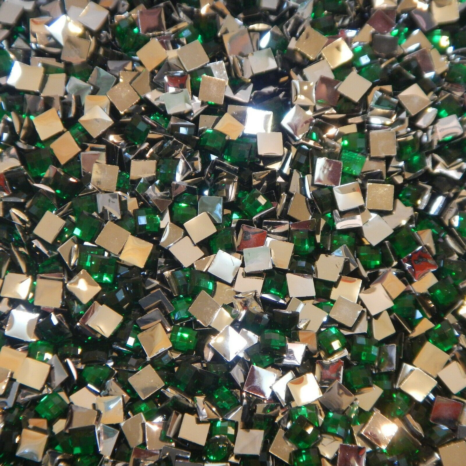 1000 Crystal Flat Back Resin Rhinestones Gems 60 colors, 2mm, 3mm, 4mm, 5mm, 6.5 SQUARE EMERALD