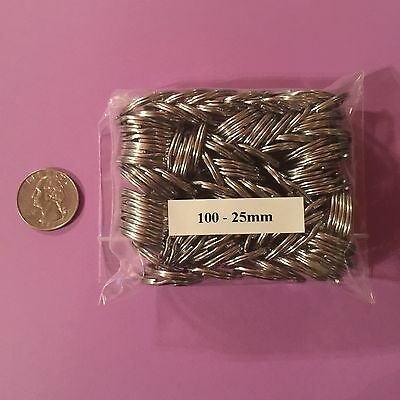 "Stainless Steel Key Rings 1"" (25mm) Split Ring Wholesale lot 100"