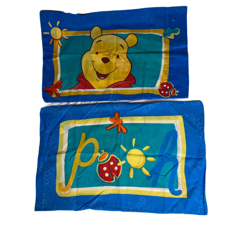 Vintage Disney Winnie the Pooh Double Sided Pillowcase Set Standard Character