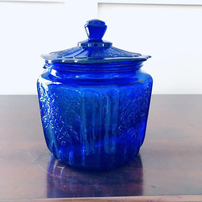 Vintage Cobalt Blue Mayfair Open Rose Cookie Jar