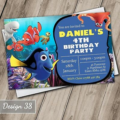 Finding Nemo Dory Invitations Personalised Birthday Party Invites