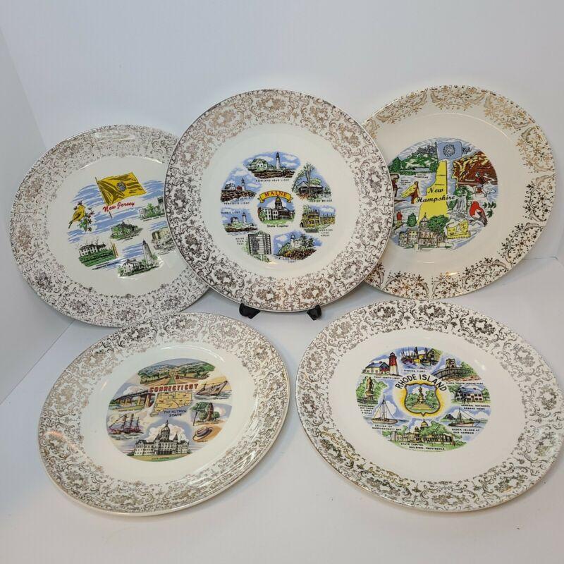 5 Vintage State Souvenir Plates Maine Connecticut NJ NH Rhode Island Northeast