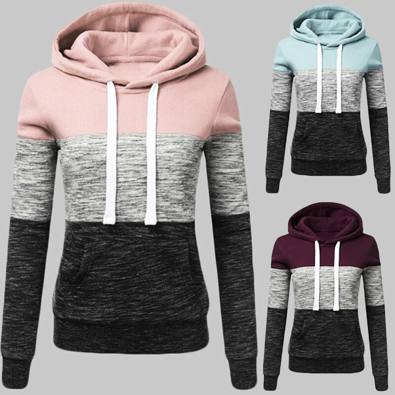Women Patchwork Hooded Long Sleeve Sweatshirt Hoodie Pullove