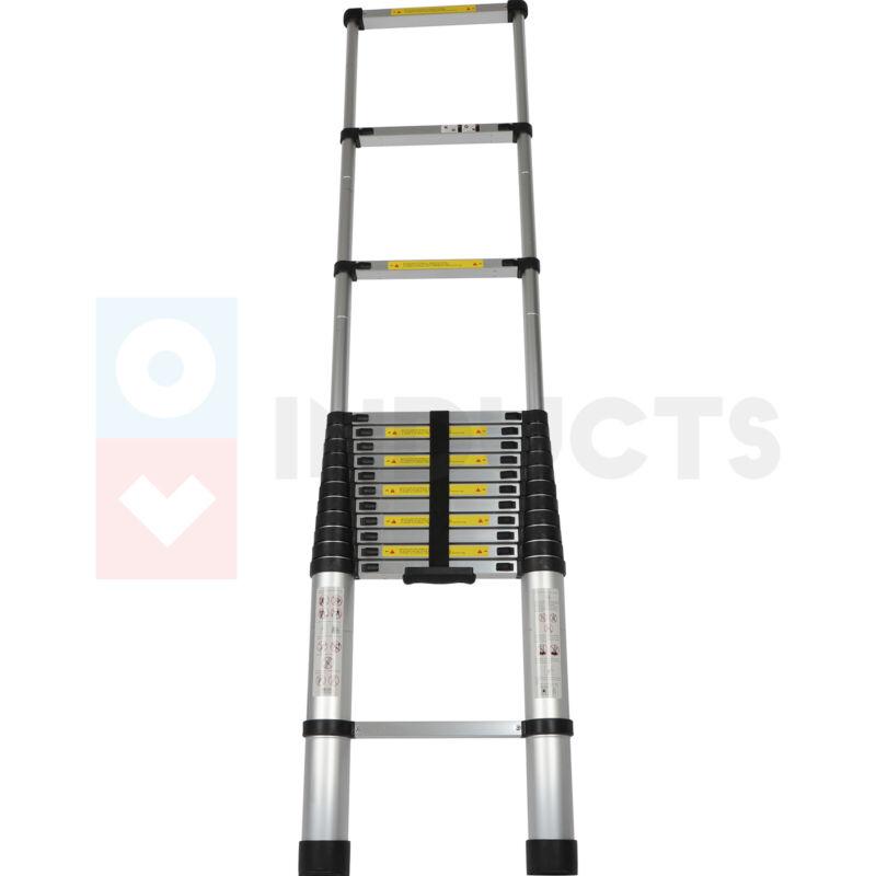 16.5 Feet Lightweight Foldable Telescoping Ladder Heavy Duty One Side Extension