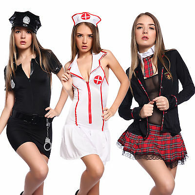 Women Schoolgirl Outfit Sexy Policewoman Cop Uniform Nurse Costume Fancy Dress - Cop Outfits For Women
