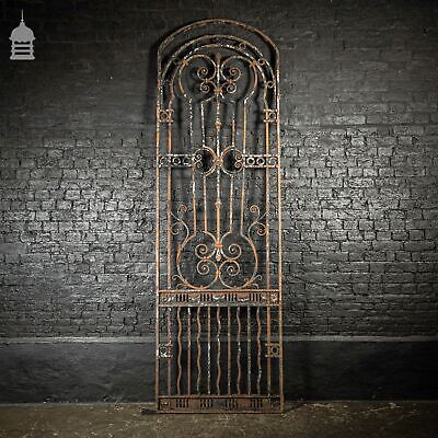 Single Large 3 Metre Tall Early 18th C Wrought Iron Scrollwork Arch Top Gate