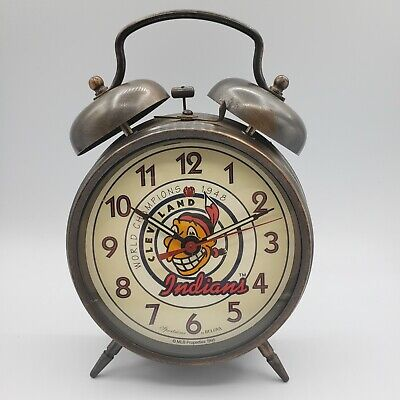 Cleveland Indians World Champions 1948 By BULOVA MLB Wind Up Double Bell Alarm
