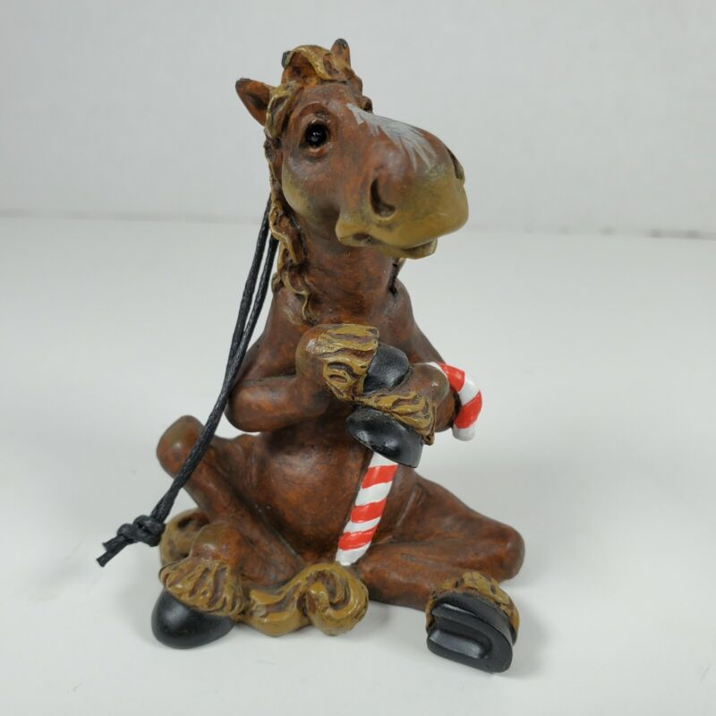 Montana Silversmiths Elmer the Horse Ornament Sitting with Candy Cane