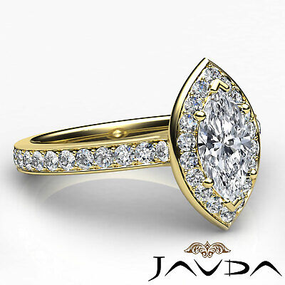 Halo Micro Pave Marquise Cut Diamond Engagement Cathedral Ring GIA F VS1 1.17Ct 8