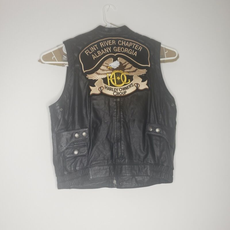 Harley Davidson Leather Vest Size Large Black