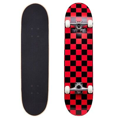 Cal 7 Checker Red Complete Popsicle Skateboard,8 Inch, Gifts for Skateboarder