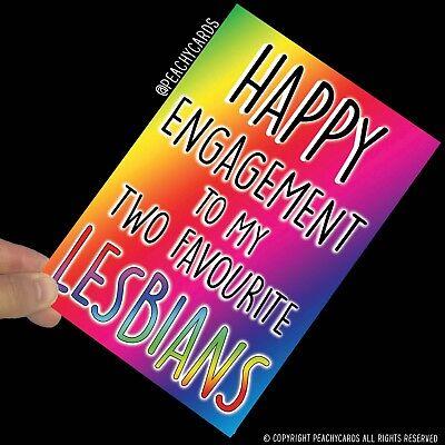 Divertido Compromiso Tarjetas Favourite Lesbianas Gay Bromas Boda Amigo PC549