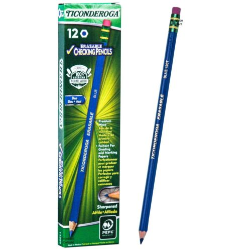 Ticonderoga Erasable Blue 420T 14209 Checking Pencils