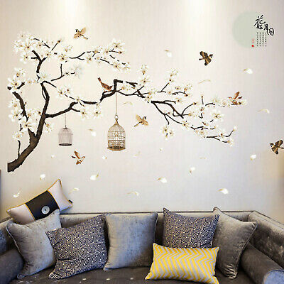 Home Decoration - Cherry Blossom Decals Mural Decor White Blossom Tree Branch Wall Art Stickers